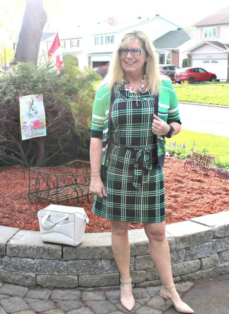 Banana republic navy stripes and plaids with pearls, nude heels and a kate spade