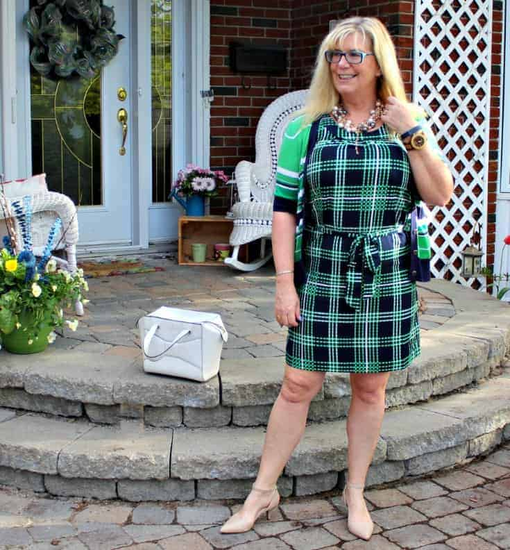 Banana republic green and blue stripes and plaids with pearls, nude heels and a kate spade