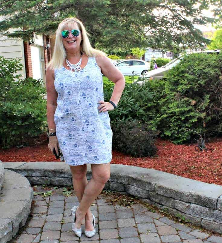 summer lovin in an Old Navy blue and white Summer Dress with white and blue stripe pumps
