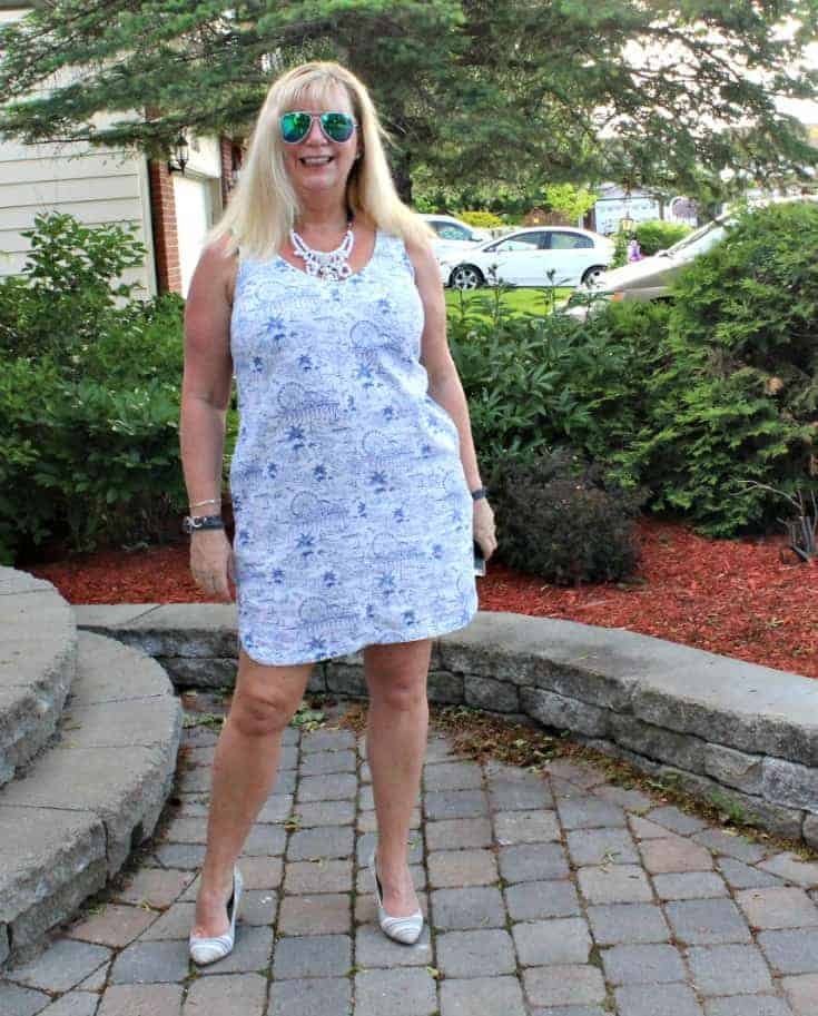 Old Navy blue and white Summer Dress with white and blue stripe pumps 2