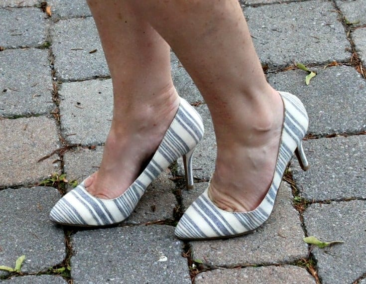 white and blue stripe pumps from shoe dazzle