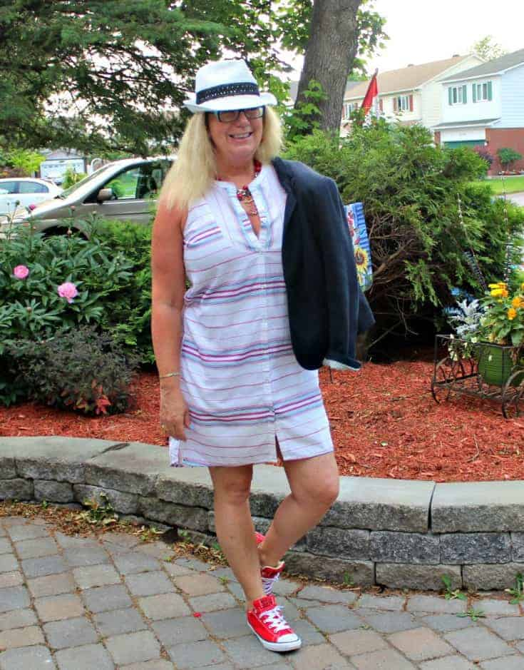 Red converse and a striped dress from Old Navy with a white fedora