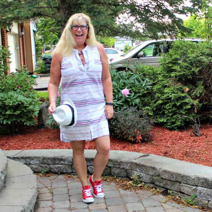 Red converse and a striped dress from Old Navy with a fedora 2