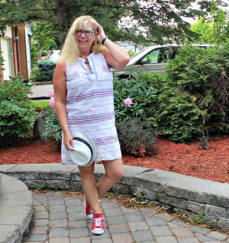 red, white and blue with Red converse and a striped dress from Old Navy with a fedora