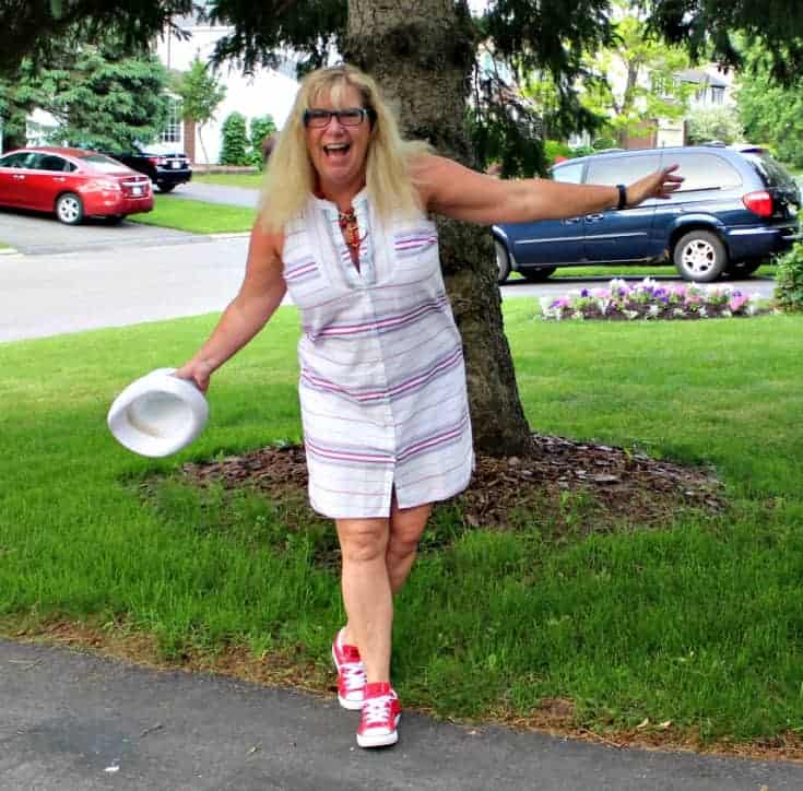 Red converse and a striped dress from Old Navy with a fedora for summer fun