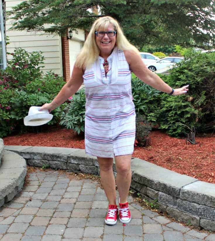 Red converse and a striped dress from Old Navy with a fedora