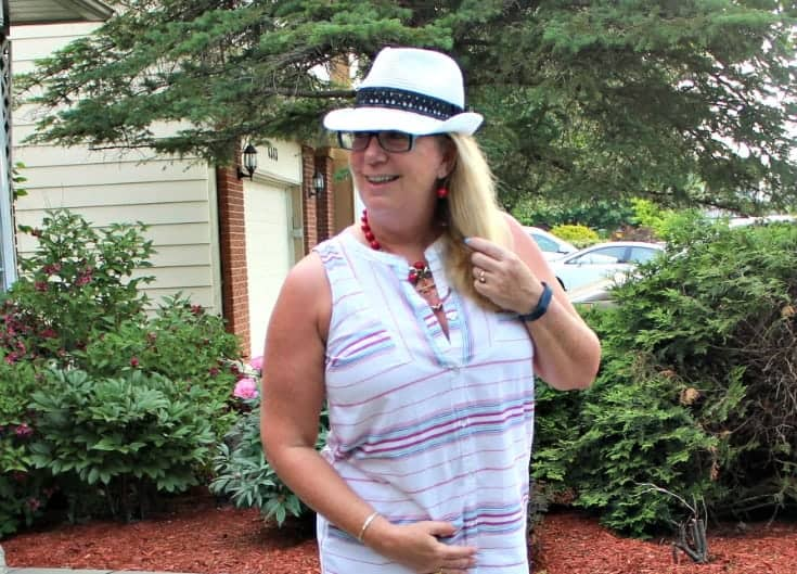 straw fedora and a striped dress from Old Navy