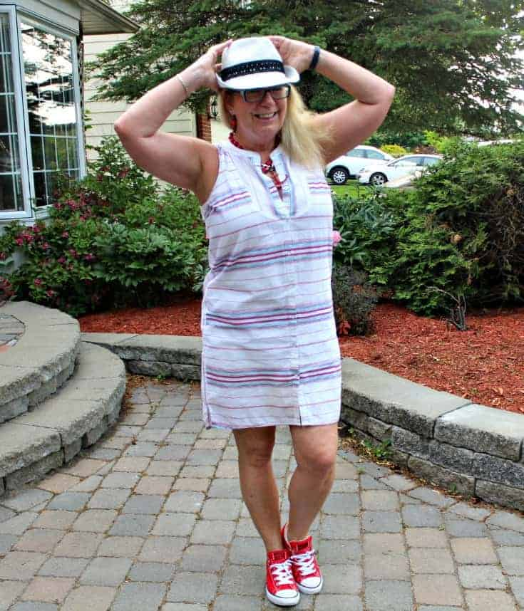 Red Converse and a striped dress from Old Navy work.