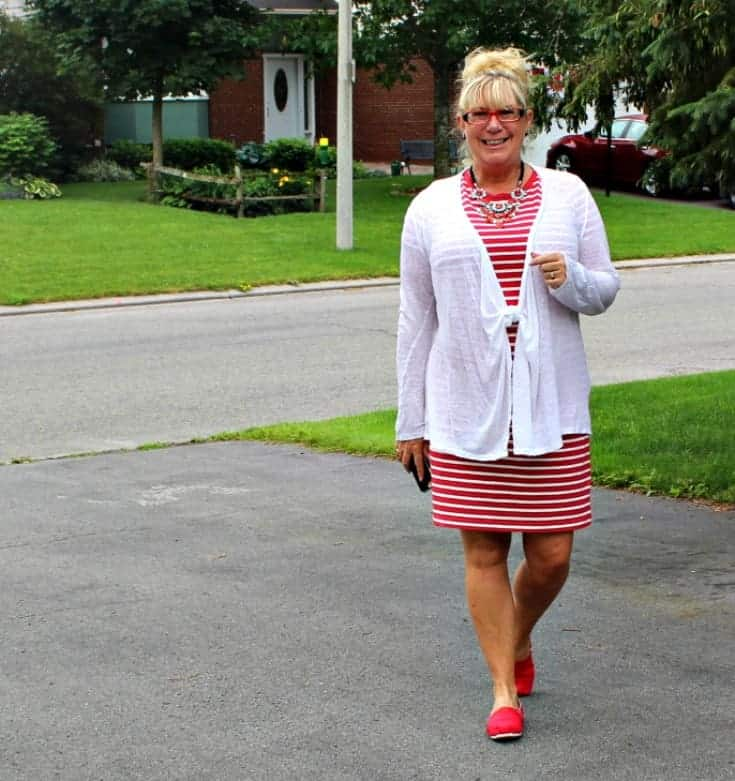 Giant tiger Tom like maple leaf shoes and an Old navy red striped dress 7