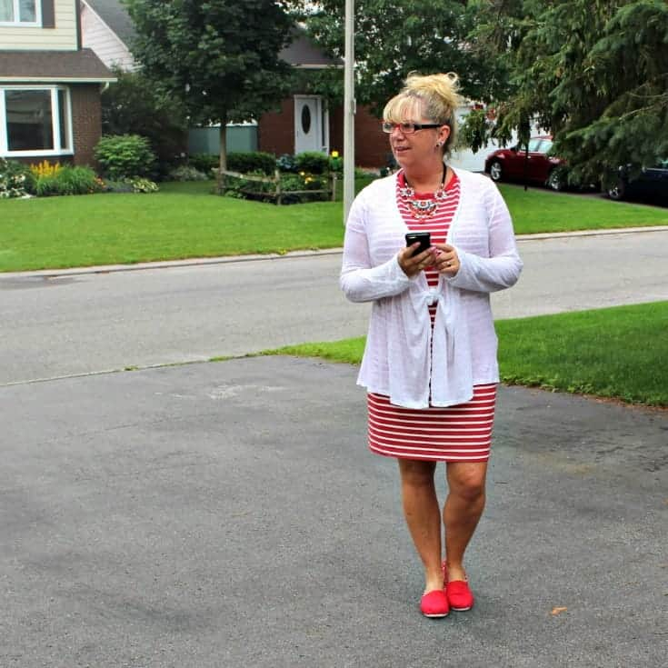 Giant tiger Tom like maple leaf shoes and an Old navy red striped dress 6