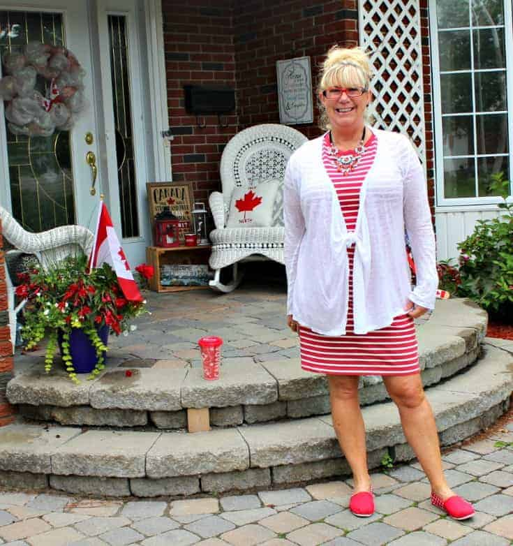Giant tiger Tom like maple leaf shoes and an Old navy red striped dress 5