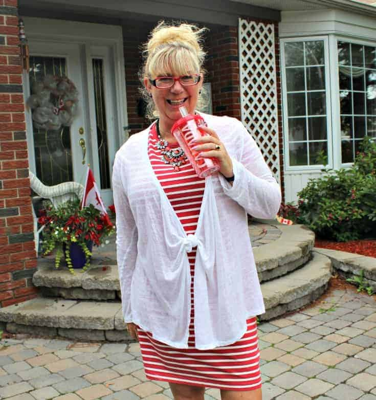 Giant tiger Tom like maple leaf shoes and an Old navy red striped dress 4