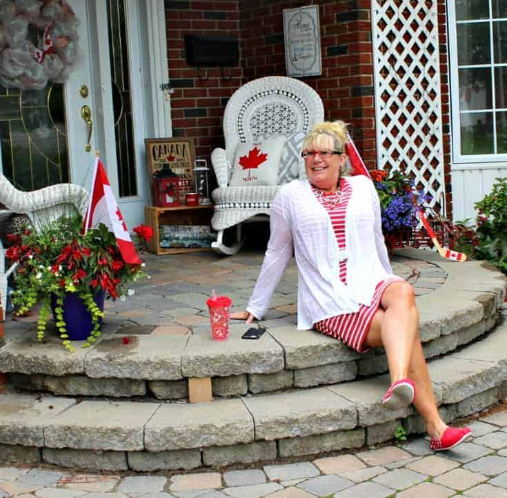 Giant tiger Tom like maple leaf shoes and an Old navy red striped dress 2