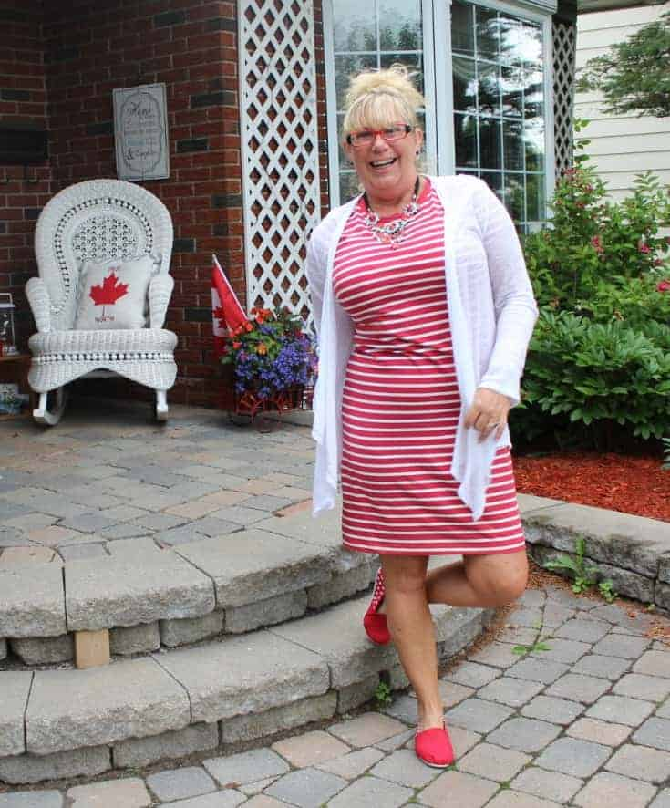 Tom like maple leaf shoes and an Old navy red striped dress