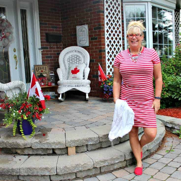 Giant tiger Tom like maple leaf shoes and an Old navy red striped dress