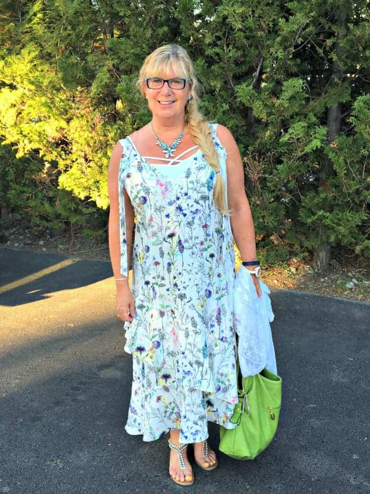 H&M floral dress and silver sandals