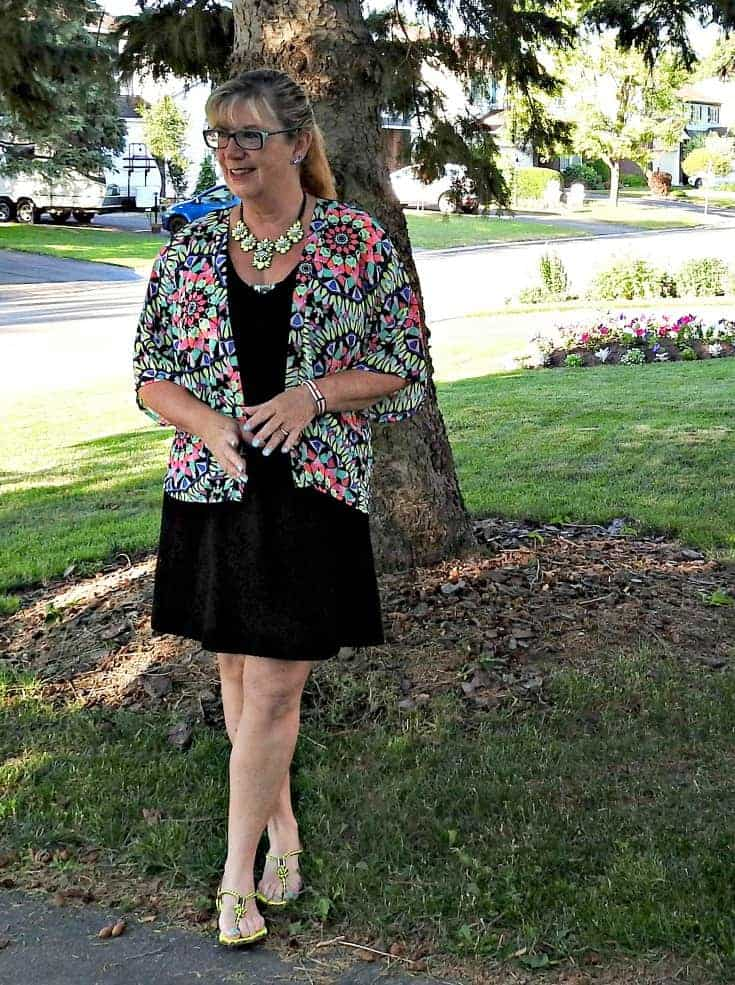 LBD with a yosa necklace and a fun Kimono from Target 9
