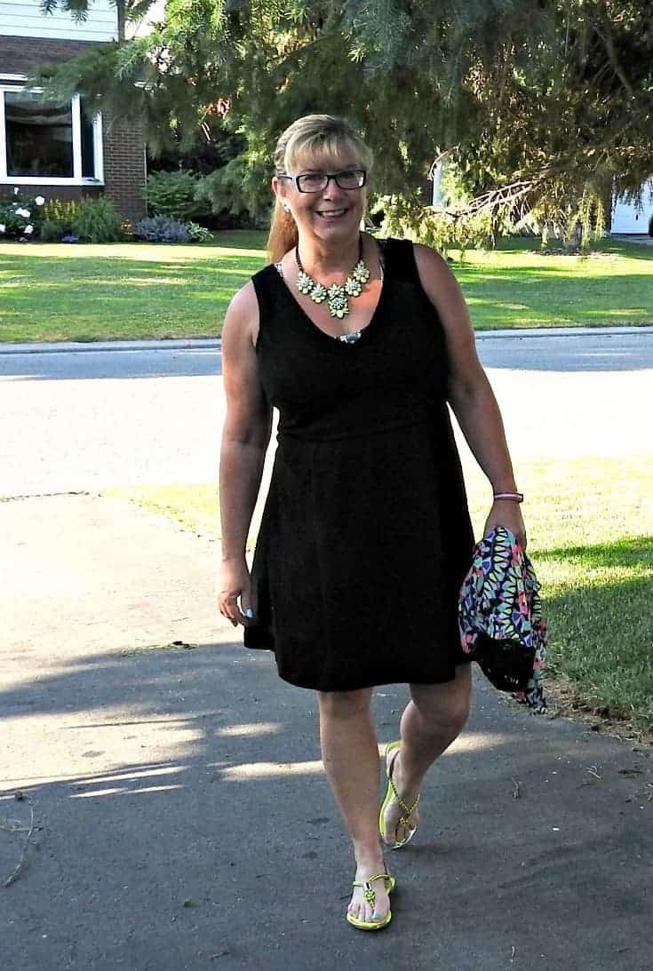 LBD with a yosa necklace and a fun Kimono from Target 5