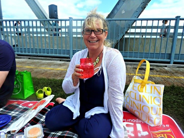 picnic on the Bridge and sipping my sparkling water