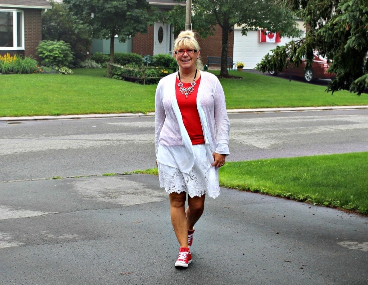 strolling towards Canada Day in Joe Fresh white lace skirt with a red tee and lace cardigan, paired with converse and a 7 Charming Sisters necklace