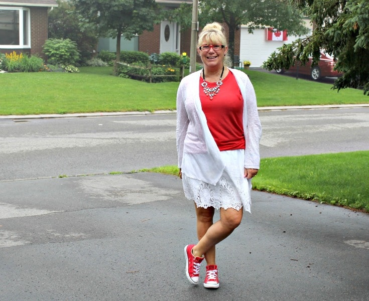 Canada Day ready inJoe Fresh white lace skirt with a red tee and lace cardigan, paired with fun red converse and a 7 Charming Sisters necklace
