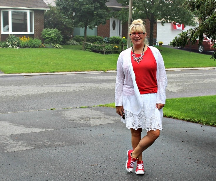 celebrating Canada Day in lace skirt with a red tee and lace cardigan, paired with converse and a 7 Charming Sisters necklace