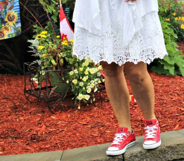 white lace skirt  paired with converse