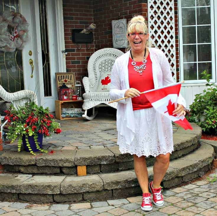 Celebrate Canada Day in Joe Fresh white lace skirt with a red tee and lace cardigan, paired with red converse and a 7 Charming Sisters necklace