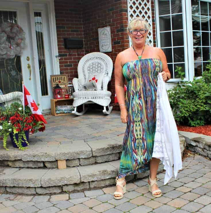 Giant Tiger multi coloured Maxi and wedge sandal as we head to the new store opening on Merivale