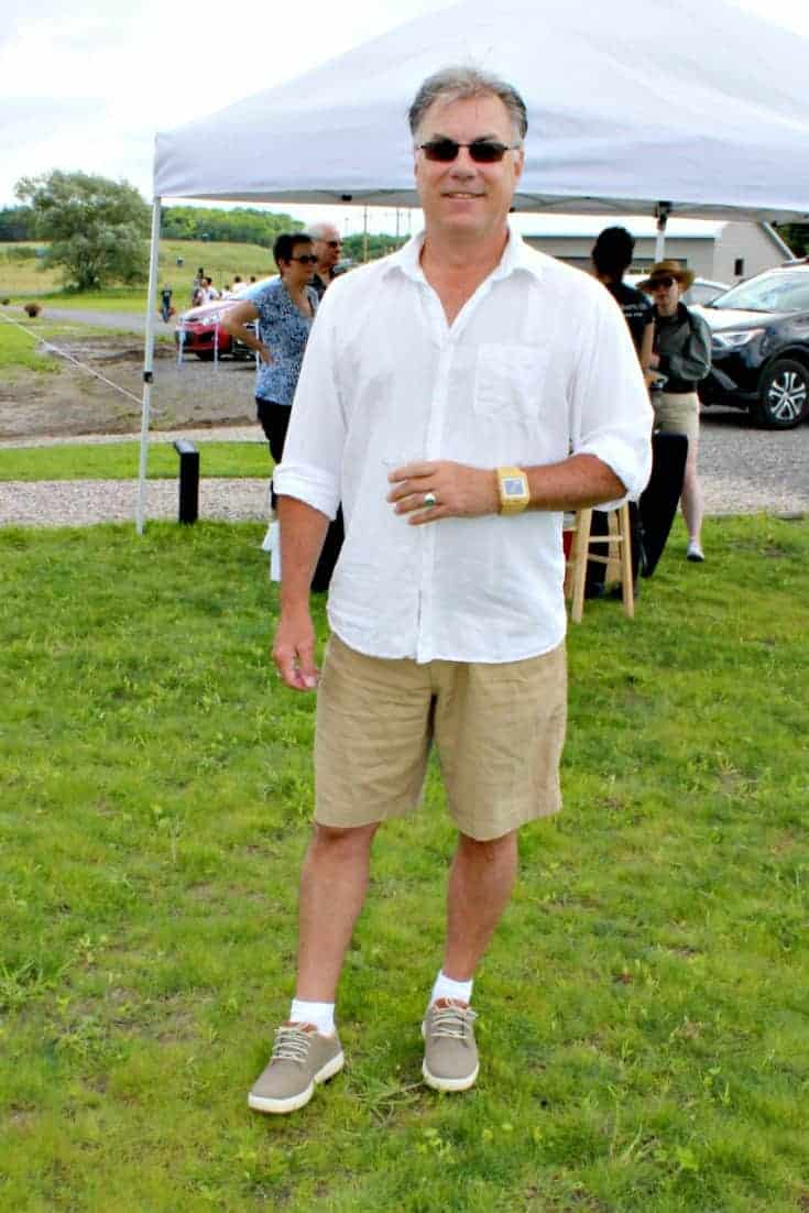 Kent in his Skechers at the Grand Opening of Kin Vineyards
