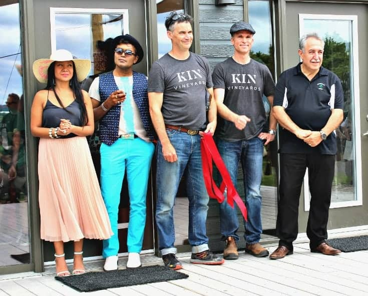 ribbon cutting at the Grand Opening of Kin Vineyards