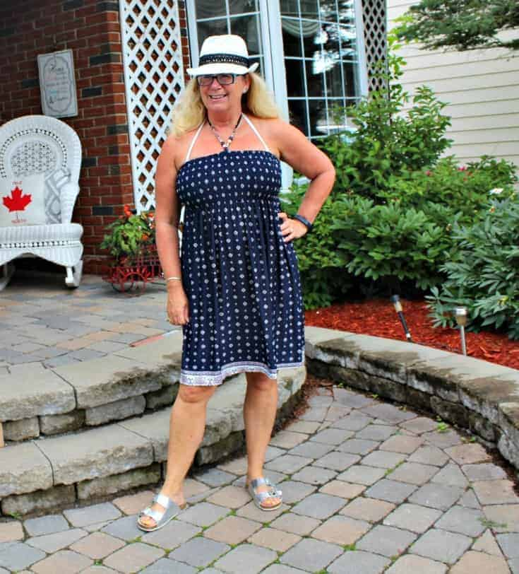 Giant Tiger Halter Dress and a white straw Fedora