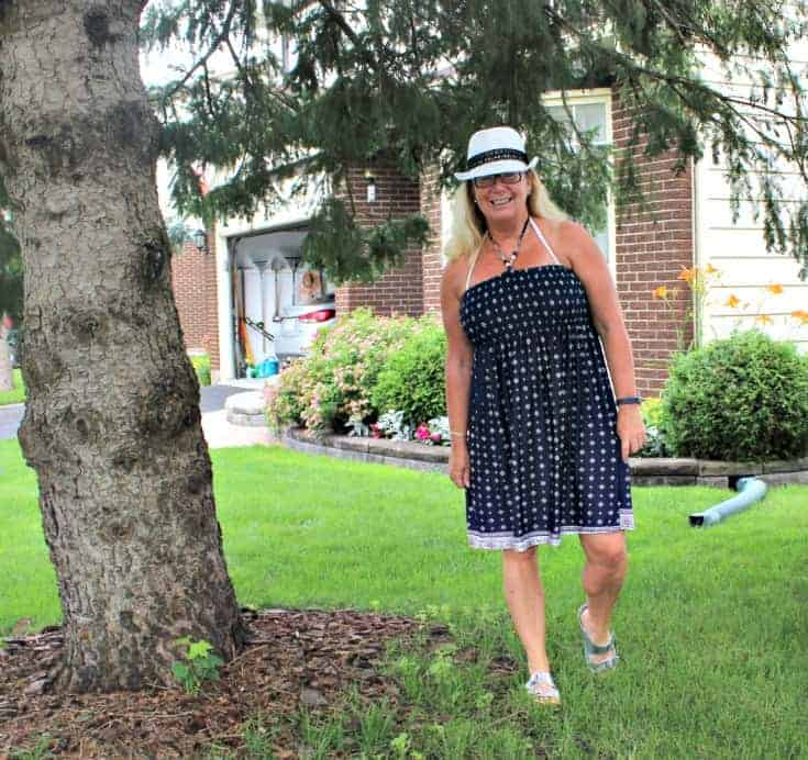 Giant Tiger Halter Dress and a white Fedora