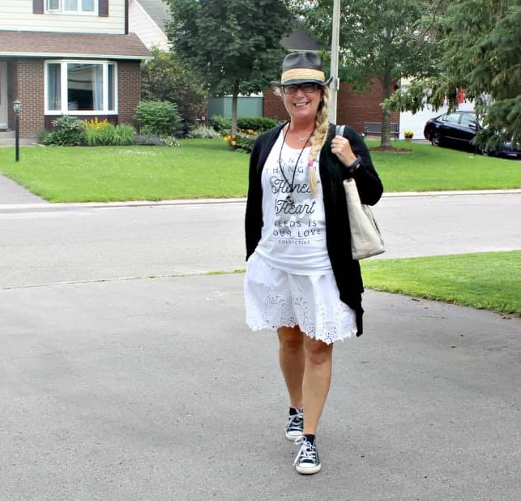 Honest Heart Collective Tank and lace skirt with converse and a fedora for RBC Ottawa Bluesfest