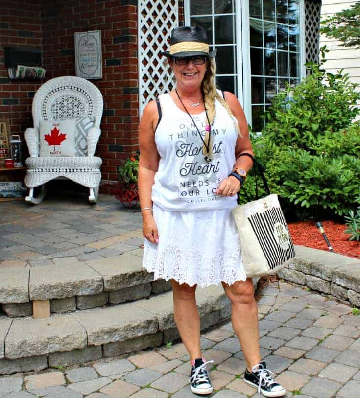 Honest Heart Collective white Tank and lace skirt with converse and a fedora for Bluesfest