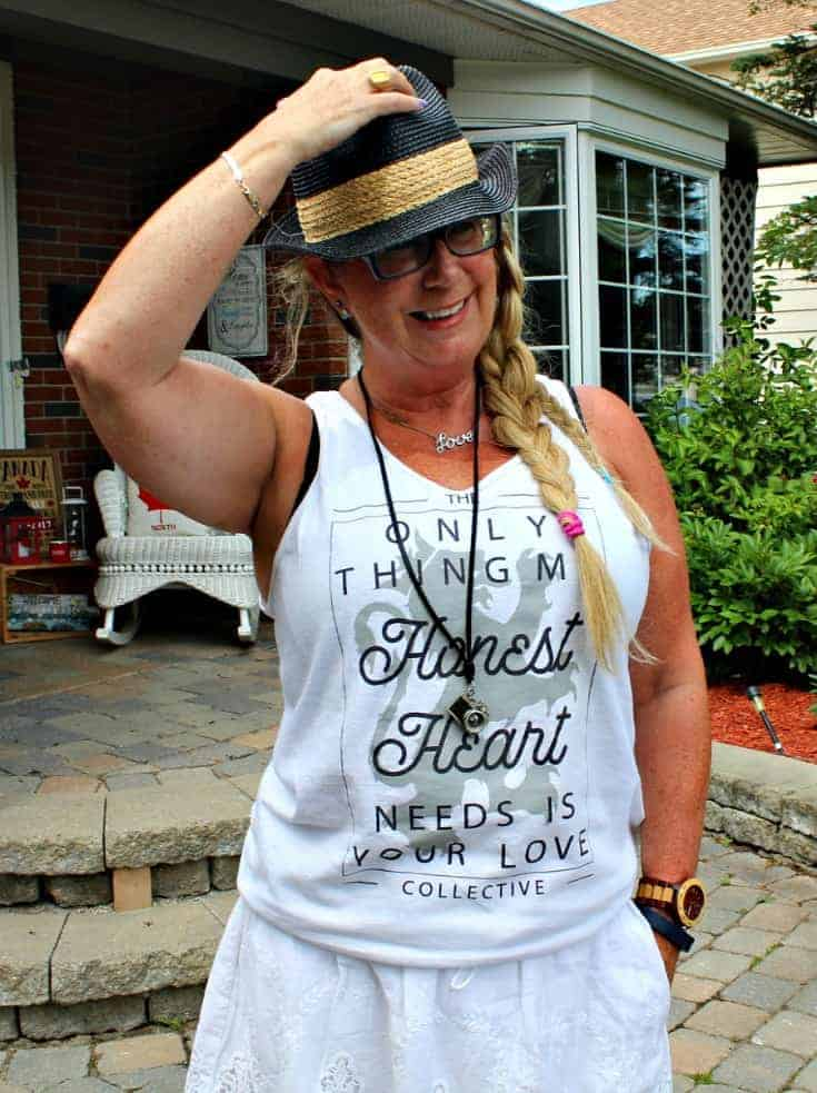 Honest Heart Collective Tankand a fedora for Bluesfest