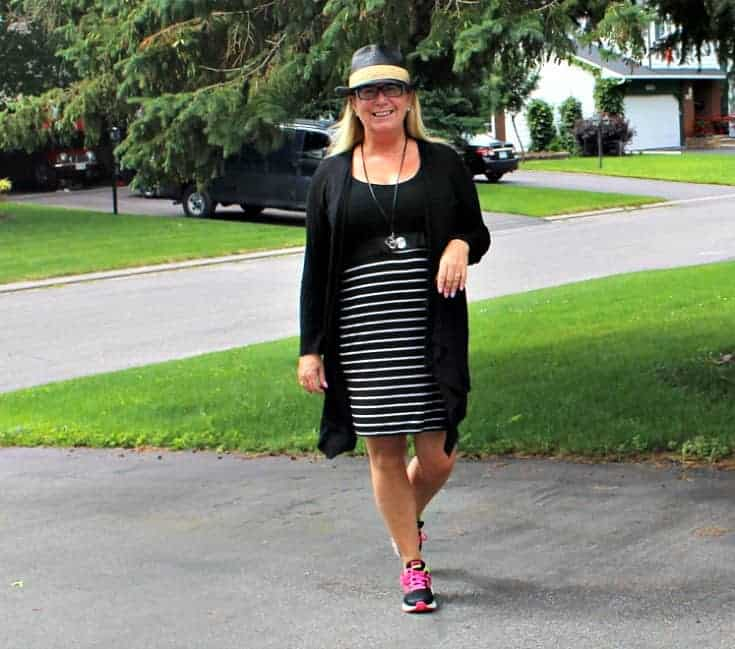 Giant Tiger Vintage Striped Tee Dress with Neon Nikes and a Fedora