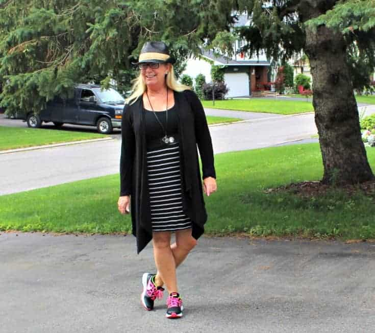 Giant Tiger Vintage Striped Tee Dress with Nikes and a Fedora
