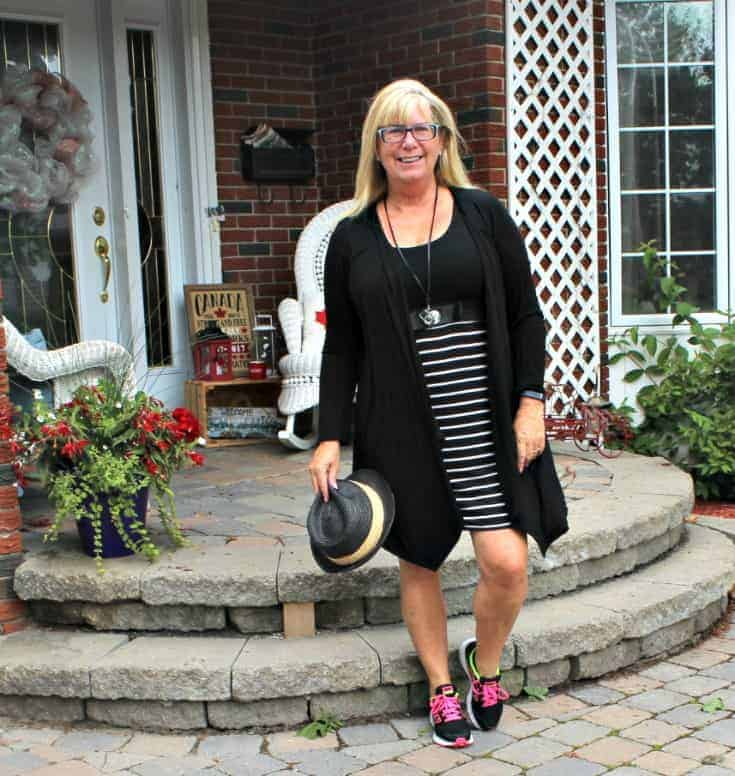 Giant Tiger Vintage Striped Tee Dress with Neon Nikes and a black Fedora