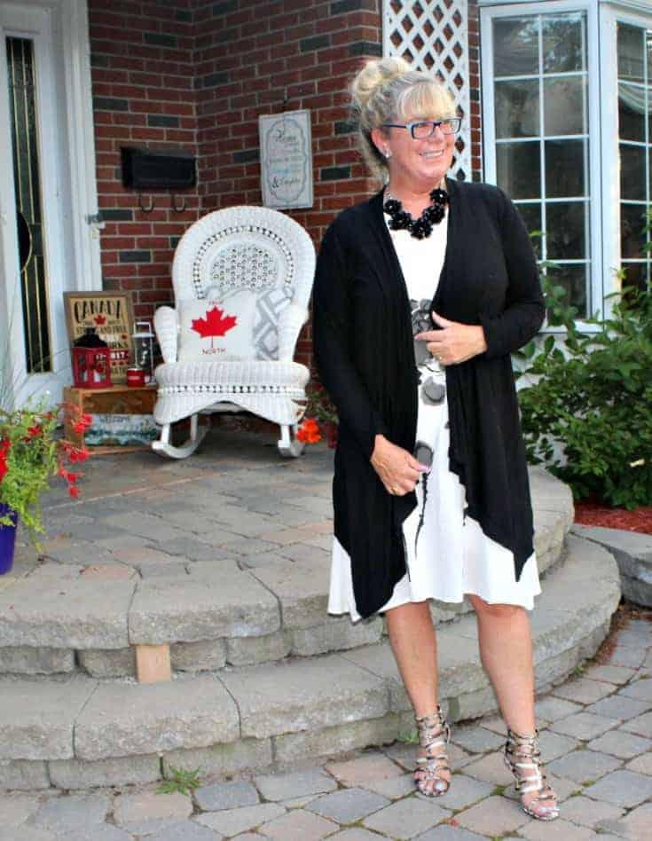 Fashion Mia White Linen Shift with black flowers