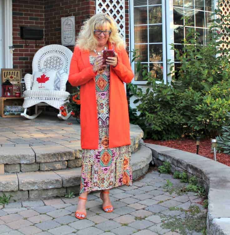 Shein Orange Blazer and fun Target sundress with my shoe dazzle strap heels and TUCCH Phone Case