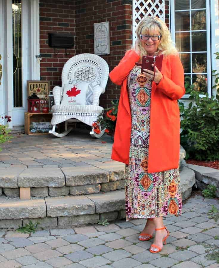 Shein Orange Blazer and fun Target sundress with my shoe dazzle strap heels with phone case from TUCCH