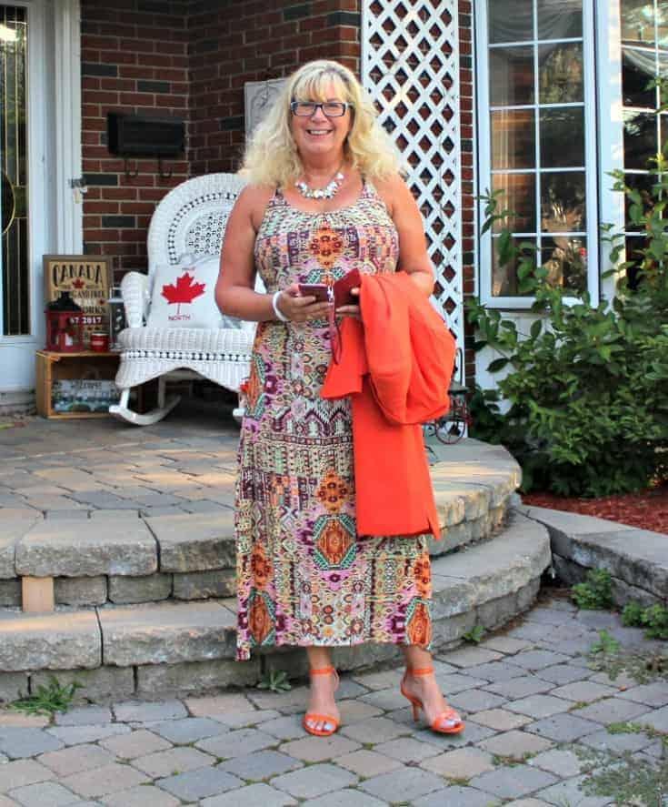 Shein Orange Blazer and fun Target sundress with my shoe dazzle strap heels