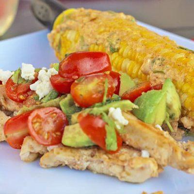 Hello Fresh Garlic Lime Chicken with Avocado Salsa and Mexican Street Corn