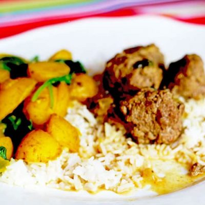 Tandoori Meatball Curry with Saag Aloo