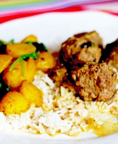 Tandoori Meatball Curry with Saag Aloo