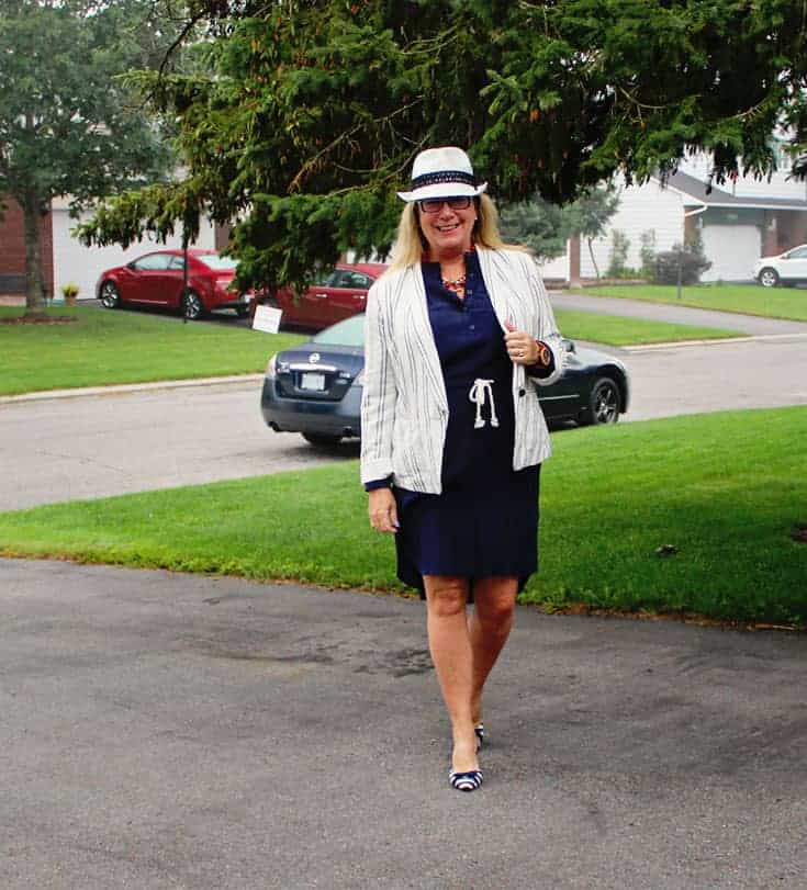 shirtdress from J Crew Factory Outlet, paired with the Old Navy Linen Blazer and slingbacks from Shoedazzle