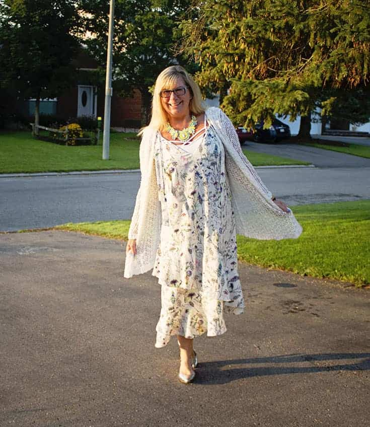 H&M Floral Crepe Dress, silver slingback flats and a great 7 Charming Sisters Necklace