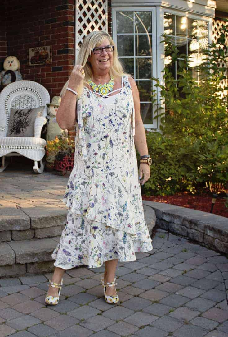 H&M Floral Crepe Dress, Lemon Pumps from Shoe Dazzle and a great 7 Charming Sisters Necklace 3