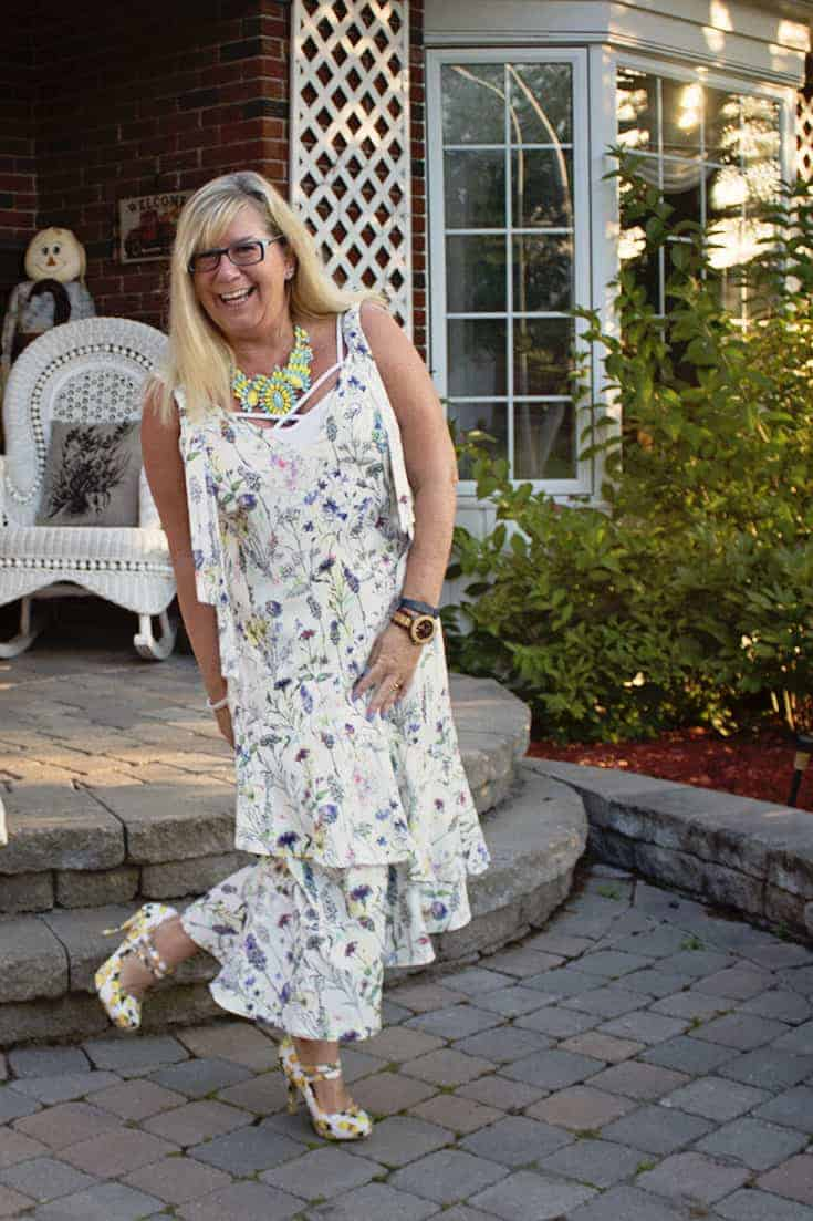 H&M Floral Crepe Dress, Lemon Pumps from Shoe Dazzle and a great 7 Charming Sisters Necklace 2